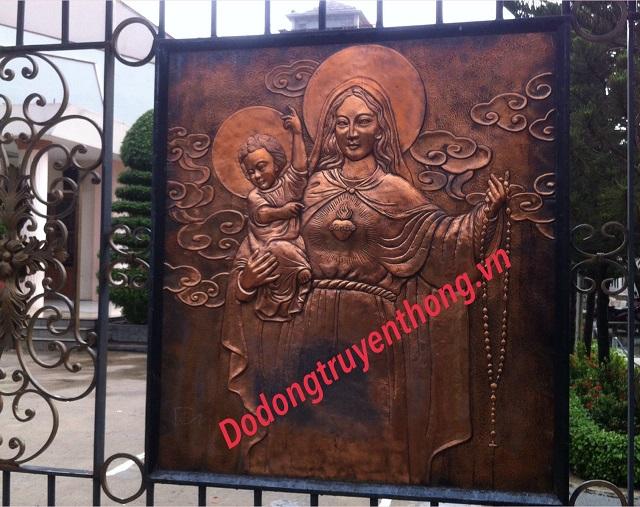 Đúc phù điêu đức mẹ bằng đồng trang trí