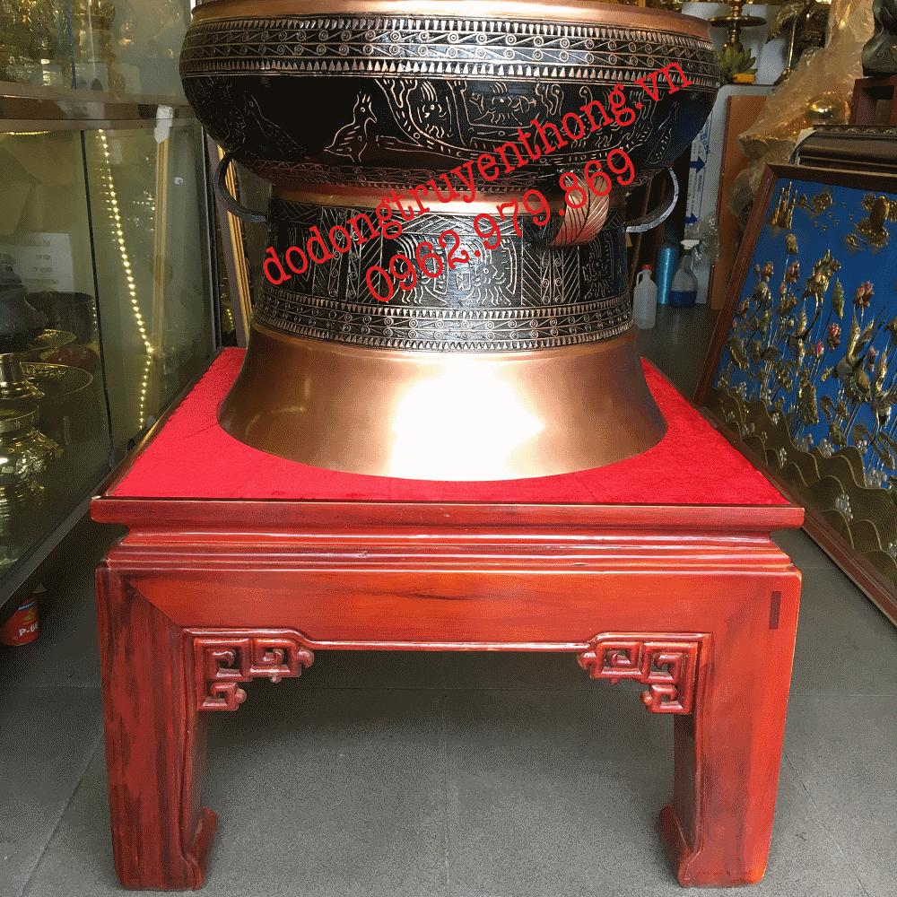 Trống đồng đỏ đúc 50 cm trang trí phòng khách