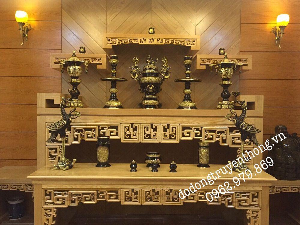 Bộ lư đồng dapha đen vàng 6 1 cm cho bàn thờ 1,75 m